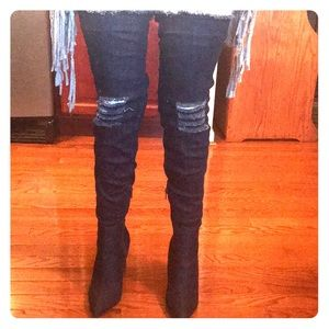 Thigh high denim boots!